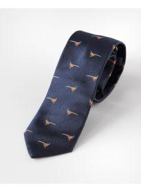 Krawatte Seide Fasan dunkelblau