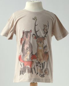 Kindershirt Waldtiere beige